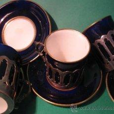Antigüedades: VICTORIANAS TACITAS DE CAFE, SOPORTE EN PLATA CONTRASTADA, CUENCO PORCELANA. SG.XIX. 1860. Lote 29288009