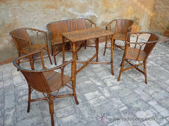Antiguo conjunto de mimbre compuesto de 4 silla comprar - Mesas de recibidor antiguas ...