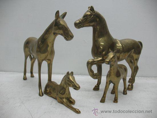 Lote De 4 Caballos Figuras Decoracion En Bronce Comprar Figuras - Decoracion-figuras