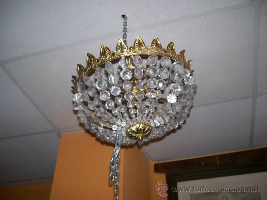LÁMPARA DE LATÓN Y CRISTAL (Antigüedades - Iluminación - Lámparas Antiguas)