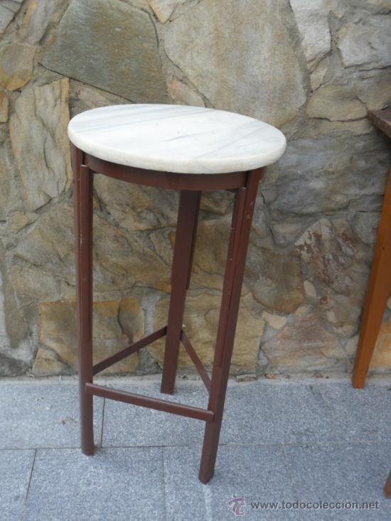 Mesa auxiliar de m rmol y patas de madera anti comprar - Mesas auxiliares antiguas ...