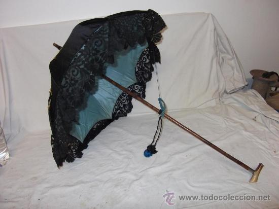 Antigüedades: antigua sombrilla parasol medianos siglo XIX seda y bordado paraguas - Foto 2 - 29337380
