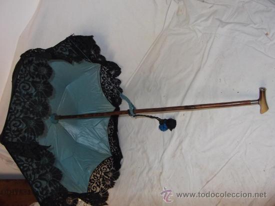 Antigüedades: antigua sombrilla parasol medianos siglo XIX seda y bordado paraguas - Foto 4 - 29337380