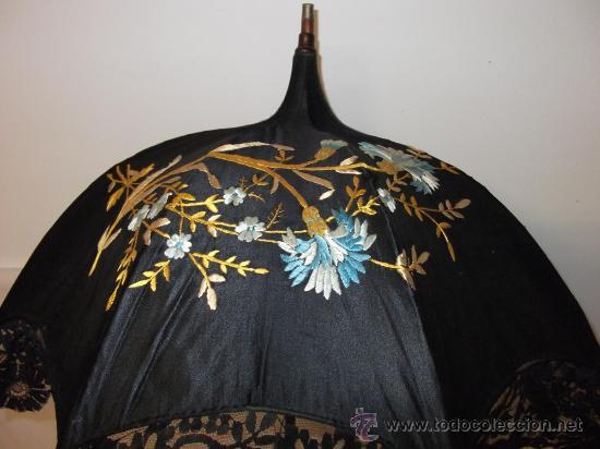 Antigüedades: antigua sombrilla parasol medianos siglo XIX seda y bordado paraguas - Foto 10 - 29337380