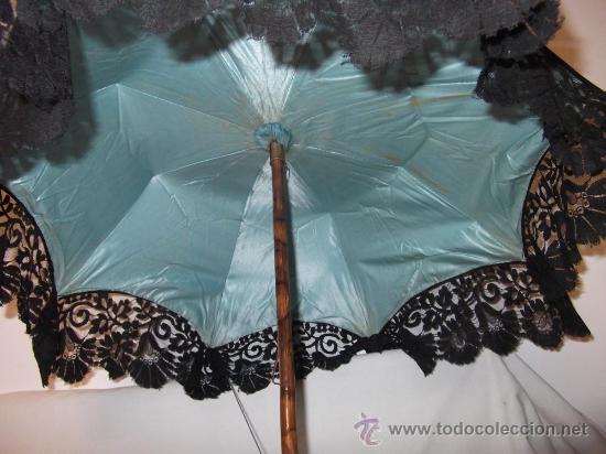 Antigüedades: antigua sombrilla parasol medianos siglo XIX seda y bordado paraguas - Foto 12 - 29337380