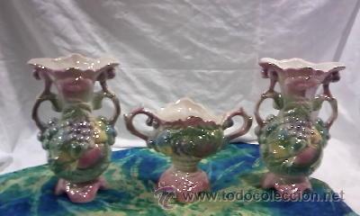 PRECIOSO JUEGO DE 3 PIEZAS DE JARRONES EN CERÁMICA CHINA (Antigüedades - Porcelanas y Cerámicas - China)