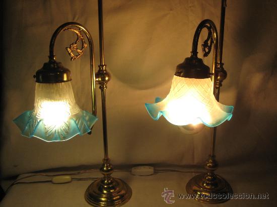 Pareja de lamparas de sobre mesa o para mesitas comprar - Lamparas con botes de cristal ...