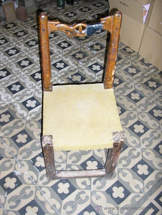 SILLA RUSTICA DE MADERA MACISA MUY ANTIGUA (Antigüedades - Muebles Antiguos - Sillas Antiguas)