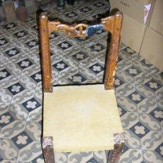 Antigüedades: SILLA RUSTICA DE MADERA MACISA MUY ANTIGUA. Lote 29393986