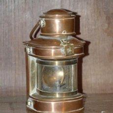 Antigüedades - Farol de barco. Cobre y bronce. C 1900. completo original. - 29404923