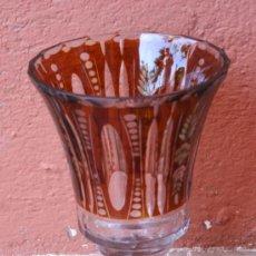 Antigüedades: COPA DE CRISTAL PARA FLORERO CON ORNAMENTACION EN COLOR CARAMELO. Lote 29428604