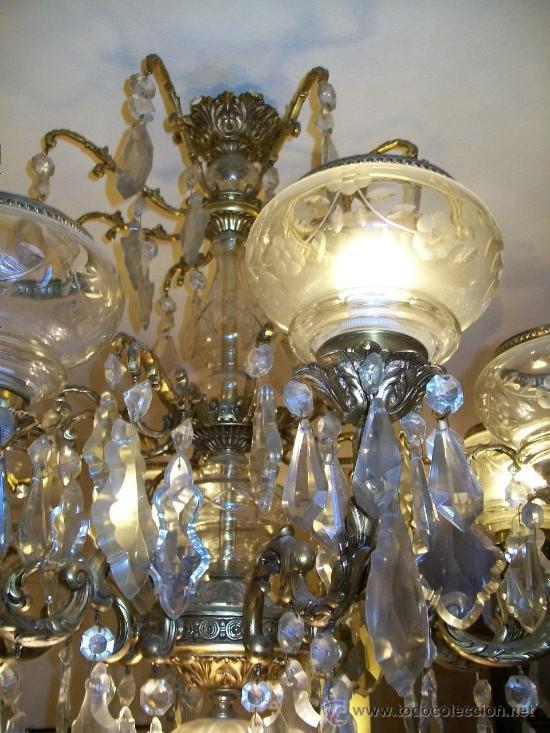 Antigua l mpara ara a bronce y cristal de roc comprar - Lamparas cristal antiguas ...