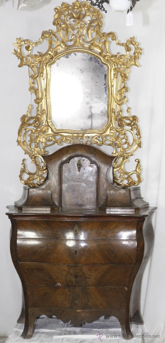 Antigüedades: Importante pequeña cómoda catalana de pubilla con espejo, siglo XVIII. En raiz de nogal, ver. - Foto 12 - 29447319