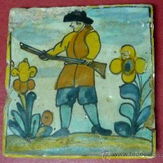 Antigüedades: RARISIMO AZULEJO CATALAN DE OFICIOS. SIGLO XVII, PERTENECE AL GRUPO DE LA MARGARITA.. Lote 29505180