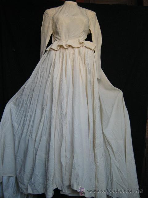 antiguo vestido de novia con enagua y ahuecador - vendido en venta