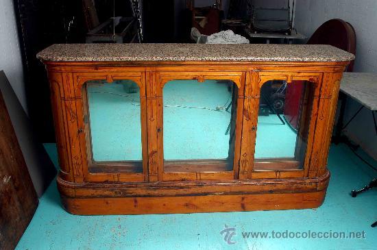 Antigua barra de bar de madera con sobre m rmol comprar for Barra bar madera segunda mano