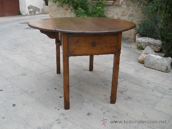 Mesa de alas antigua madera de pino restaur comprar for Mesa alas abatibles