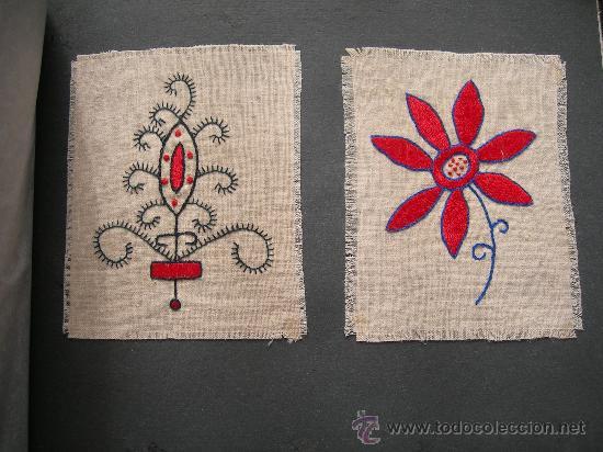 Antigüedades: MUESTRARIO CON TRABAJOS DE BORDADOS, SEGURAMENTE DE SECCION FEMENINA O SERVICIO SOCIAL, VER FOTOS AD - Foto 5 - 54045804
