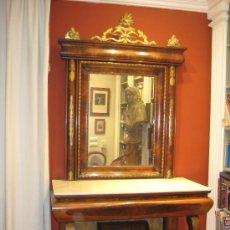 Antigüedades: GRAN CONSOLA-TOCADOR REINA GOBERNADORA ( CIRCA 1833 ) EN PALMA DE CAOBA. Lote 29618011