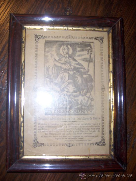 ANTIGUO MARCO CON DOCUMENTO DE EPOCA SAN EMIGDIO. BENEJUZAR NOVIEMBRE 1919 (Antigüedades - Religiosas - Varios)