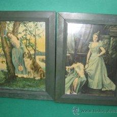 Antigüedades: PRECIOSA PAREJA DE MARQUITOS ART NOUVEAU CON BELLAS LITOGRAFIAS, FF.SG.XIX. 1890 -1910. Lote 29653650
