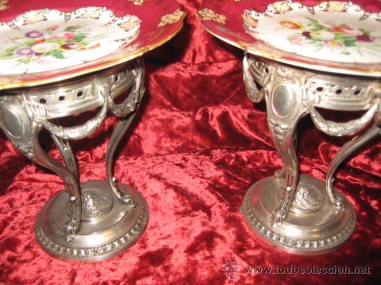 Antigüedades: Preciosos centros de mesa-fruteros ingleses con porcelana decorada a mano s. XIX - Foto 15 - 29675970