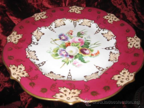 Antigüedades: Preciosos centros de mesa-fruteros ingleses con porcelana decorada a mano s. XIX - Foto 12 - 29675970