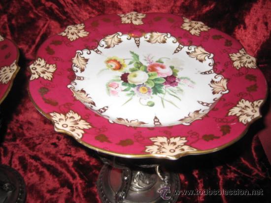 Antigüedades: Preciosos centros de mesa-fruteros ingleses con porcelana decorada a mano s. XIX - Foto 13 - 29675970