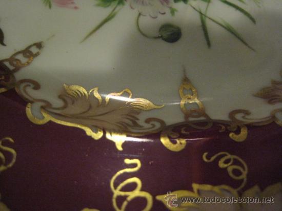 Antigüedades: Preciosos centros de mesa-fruteros ingleses con porcelana decorada a mano s. XIX - Foto 10 - 29675970