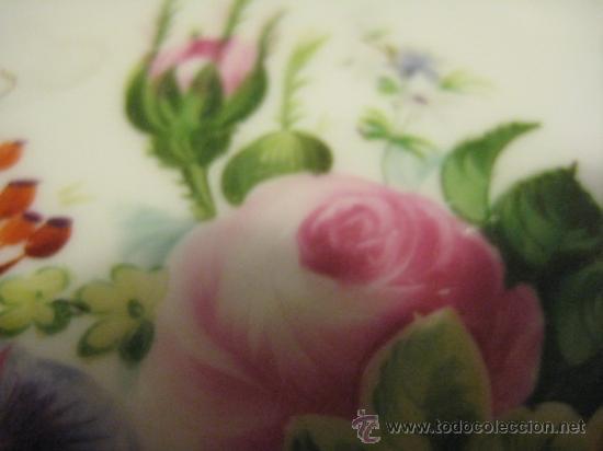 Antigüedades: Preciosos centros de mesa-fruteros ingleses con porcelana decorada a mano s. XIX - Foto 9 - 29675970