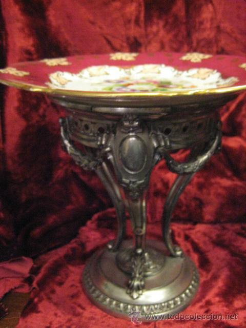 Antigüedades: Preciosos centros de mesa-fruteros ingleses con porcelana decorada a mano s. XIX - Foto 3 - 29675970