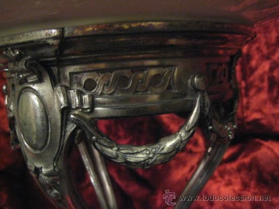 Antigüedades: Preciosos centros de mesa-fruteros ingleses con porcelana decorada a mano s. XIX - Foto 2 - 29675970
