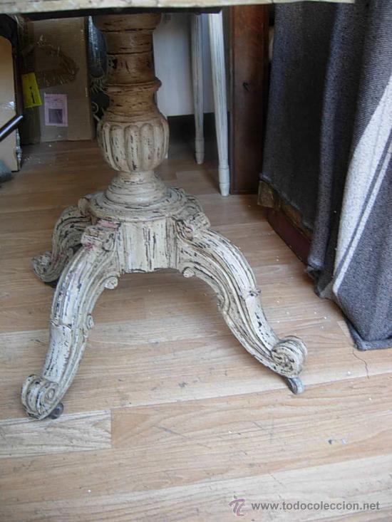 Antigüedades: LIQUIDACION MESA VELADOR ANTIGUA HECHA EN DECAPE CON LA TAPA MARMORIZADA - Foto 5 - 29687747