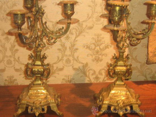 Antigüedades: ANTIGUA PAREJA CANDELABROS DE BRONCE - Foto 8 - 29685856