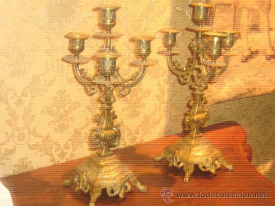 Antigüedades: ANTIGUA PAREJA CANDELABROS DE BRONCE - Foto 7 - 29685856