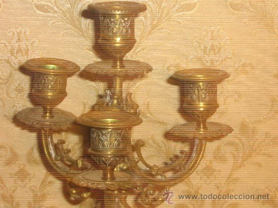 Antigüedades: ANTIGUA PAREJA CANDELABROS DE BRONCE - Foto 13 - 29685856