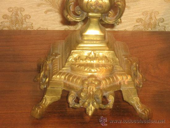 Antigüedades: ANTIGUA PAREJA CANDELABROS DE BRONCE - Foto 6 - 29685856
