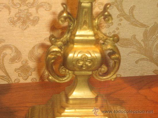 Antigüedades: ANTIGUA PAREJA CANDELABROS DE BRONCE - Foto 5 - 29685856