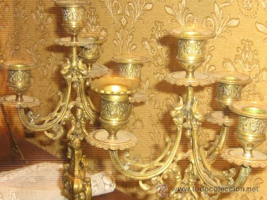 Antigüedades: ANTIGUA PAREJA CANDELABROS DE BRONCE - Foto 12 - 29685856