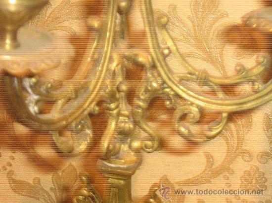 Antigüedades: ANTIGUA PAREJA CANDELABROS DE BRONCE - Foto 4 - 29685856