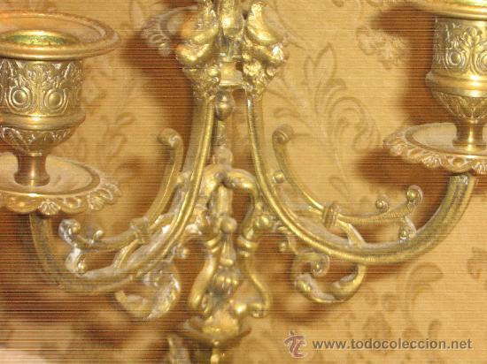 Antigüedades: ANTIGUA PAREJA CANDELABROS DE BRONCE - Foto 14 - 29685856