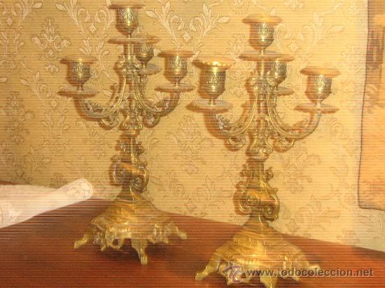 Antigüedades: ANTIGUA PAREJA CANDELABROS DE BRONCE - Foto 3 - 29685856