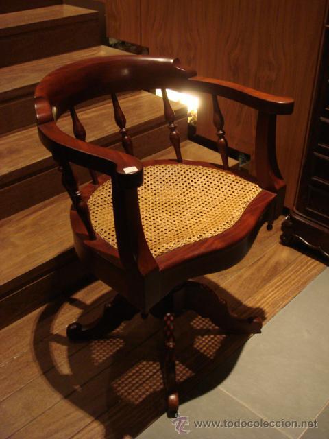 Antiguo sillon giratorio en madera de caoba c comprar - Sillones antiguos restaurados ...