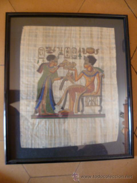 BONITO PAPIRO EGIPCIO ENMARCADO (Antigüedades - Hogar y Decoración - Tapices Antiguos)