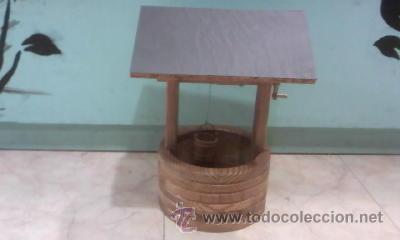 Antigüedades: Pozo con cubo,manivela y tejado hecho en madera de los 90 - Foto 3 - 29765551