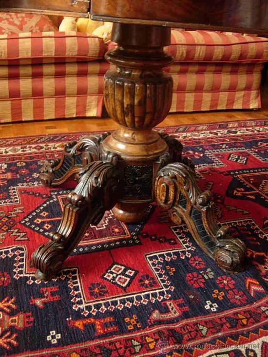 Antigüedades: MESA VELADOR DE MADERA DE NOGAL CON MARMOL GRIS DE EPOCA ISABELINA - Foto 2 - 54014703