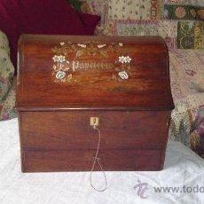 Antigüedades: BONITA CAJA DE CARTAS TIPO ESCRIBANIA. Lote 29841628
