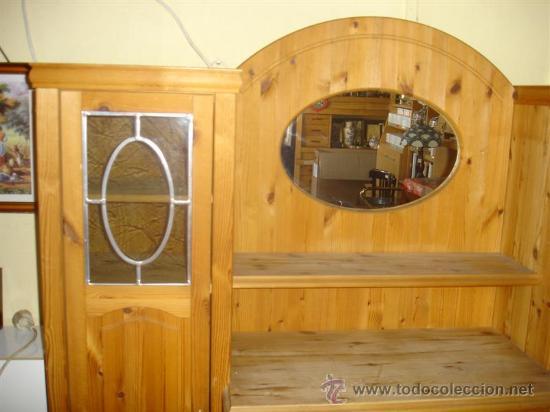 Antigüedades: mueble aparador de pino con espejo y estante - Foto 3 - 29857619