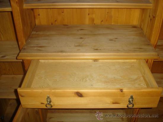 Antigüedades: mueble aparador de pino con espejo y estante - Foto 5 - 29857619
