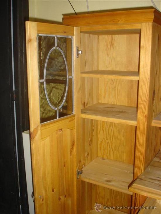 Antigüedades: mueble aparador de pino con espejo y estante - Foto 7 - 29857619